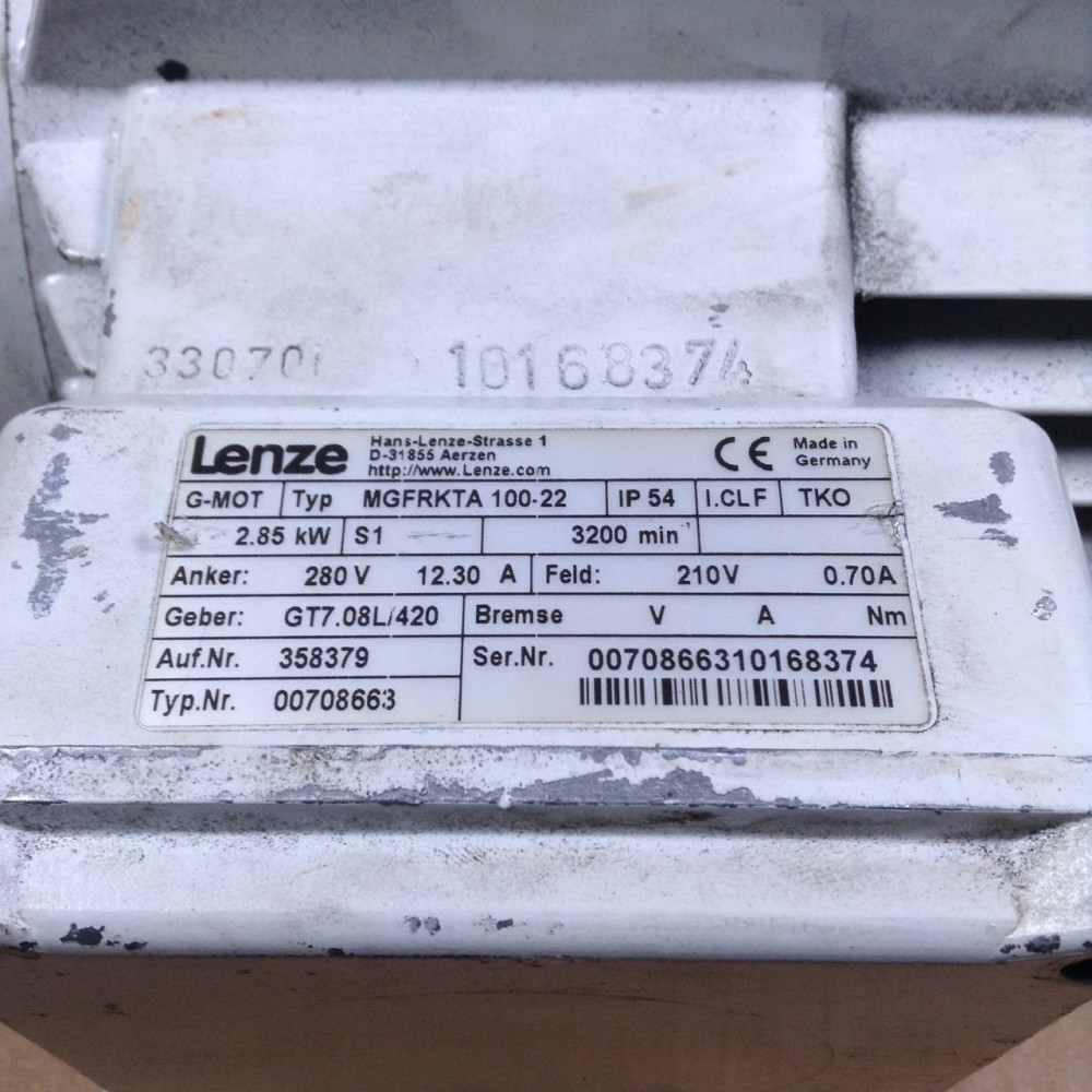 Lenze MGFRKTA 100-22 2 85 kW 280V 3200rpm + A2E 185 0,035kW UMP