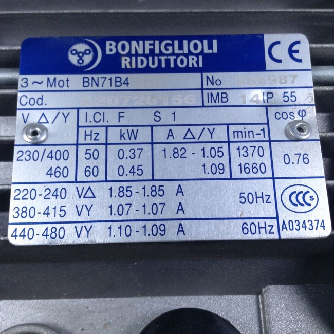 Bonfiglioli Bn71b4 Electric Motor 230v 400v Ip55