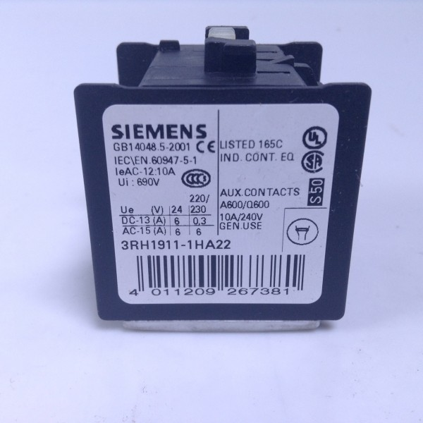 SIEMENS 3RH1911-1HA22 10A 240V AUXILIARY CONTACT NEW!!